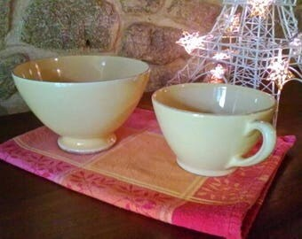 Oversized cup and bowl - vintage French pale yellow ceramics