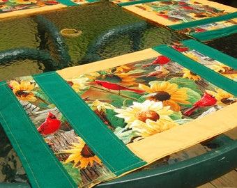 Set Of 4 Handmade Patchwork Placemats ~ Sunflowers Birds Cardinals ~ Kitchen  Table Linens Home Decor
