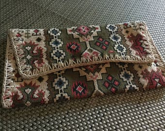 Vintage Carpet Bag Clutch Purse Made in Italy.