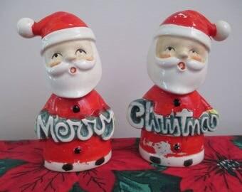 Vintage Merry Christmas Santa Salt and Pepper Shakers, Santa Merry Christmas Salt/Pepper Shakers, Santa Claus Salt Pepper Shakers