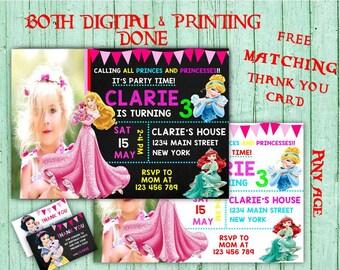 Disney Princess Birthday Invitations Princess Photo Birthday Party Disney Princess Kids Birthday Printable Invitation Princess Birthday Card