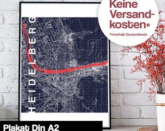 Poster - Heidelberg map midnight