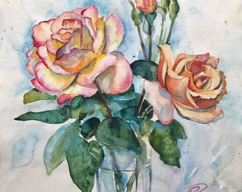 Hand author's work in one copy. Flowers watercolor Roses in a vase. Watercolor painting, Paintings for sale. Hand author's work in one copy