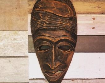 Vintage Wooden Mask // Handmade Wood Mask // Vintage Mask Wall Decor