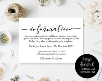Wedding Guest Details Template, Wedding Guest Accommodation Information Printable, Wedding Details Card, Wedding Directions Template INFO-10