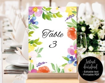 Table Numbers Wedding Template, Wedding Table Numbers, Table Names Seating Printable Download, Watercolor Floral Flowers Decor, BORDER-3