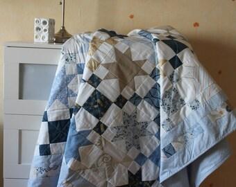 Quilt, patchwork, summer blanket, home quilt, star quilt, handwork, blue blanket, baby blanket, eco-friendly, anti-allergic quilt