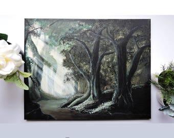 Original Lush Sun-lite Forest Acrylic Painting