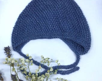 Alpaca wool baby hat, Gray knitted wool hat, Alpaca wool baby boy beanie, 3-6 month old, Wool baby hat knit, Wool newborn hat