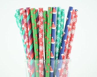 Christmas Paper Straw Mix - Party Decor Supply - Cake Pop Sticks - Party Favor