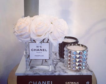 Chanel inspired vase with roses