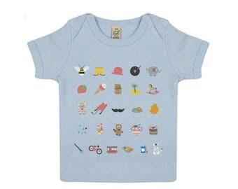 Tshirt bébé illustration rétro en coton biologique