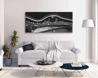 Seascape Boats Birds Eye View Canvas B&w  Panorama Wall Art Picture Home Decor