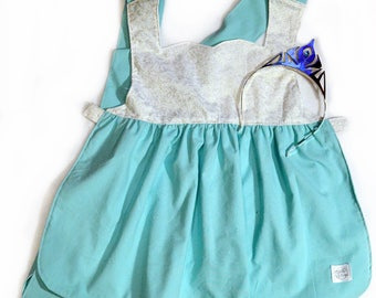 Princess Apron - Elsa, Frozen-Inspired Silver Sparkles with Blue - Kid's, Child's Apron - Preschool, Toddler - Costume, Dress-Up