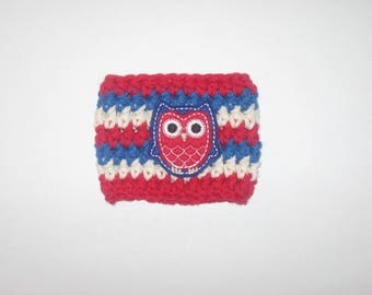 Freedom Owl Cup Cozy (red, white, blue,  owl, 4th of july, summer, sleeve,  cup sleeve,  cup cozy)