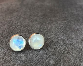 Moonstone earrings studs, Rainbow moonstone earrings, Gemstone earrings, Moonstone jewelry, Boho jewelry, Boho girlfriend gift for her