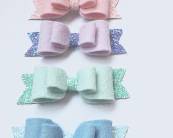 Rainbow Pastel Bow, Felt Glitter Bow, Ella Bella Bow, Pastel Hairclip