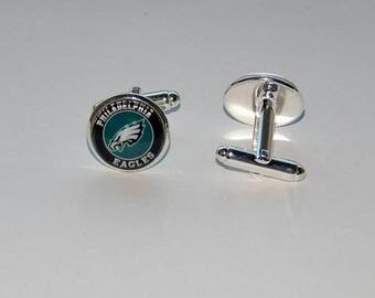 Philadelphia Eagles football logo cufflinks jewelry, Men jewelry, Philadelphia Eagles Fan Art simbol patch, NFL football Eagles sports team