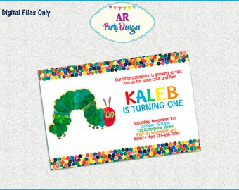 SPECIAL OFFER - Very Hungry Caterpillar Invitation - Caterpillar Birthday Party - Caterpillar Invitation - Caterpillar Digital Invitation
