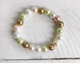 Mix Pearl Beaded Stretch Bracelet, Stretch Bracelet, Beaded Bracelet, Beaded Jewelry, Pearl Bracelet, Pearl Jewelry, Mixed Beads