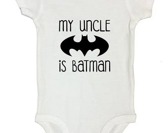 Batman Onesie Bodysuit - My Uncle Is Batman Babygrow Gift for Uncle- Gift for Mother