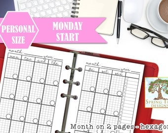 PERSONAL MONTHLY PLANNER,Undated month on two pages,personal size monthly view,Monthly spread,printable monthly refill,Monthly spread