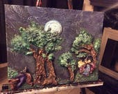 The Witch and the Bear - Original 3D Sculpted Painting - Fairy Tale Witch and Bear Playing Beneath a Moonlit Forest