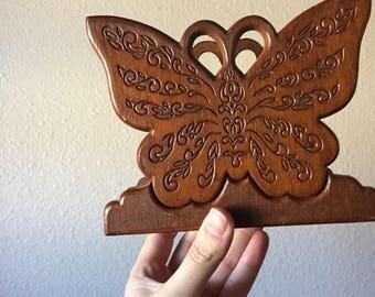 Vintage Wooden Napkin Holder Table Decor Butterfly Kitchen Decor Wooden Kitchen Decor