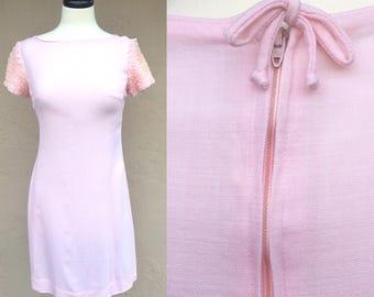 Vintage 50s 60s Gay Gibson Dress/ Light Pink Dress/ Vintage Dress/ 1950s Dress/ 1960s Dress/ Ruffle Sleeves Dress