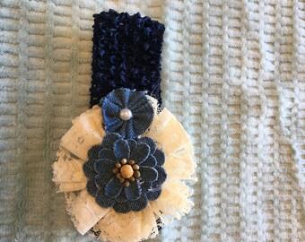 Infant/Toddler Navy Crochet Headband with Denim Flower