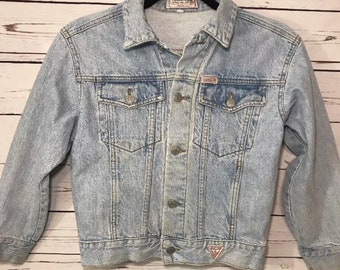 Guess Jeans Womens Vintage Light Wash Denim Blue Jean Jacket 100% Cotton Small