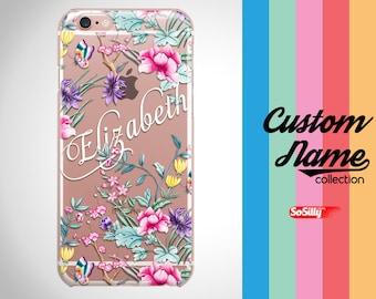 Custom name iPhone case floral, iPhone 7 custom name case floral, clear iPhone case floral, iPhone 6 custo name case clear, custom name case