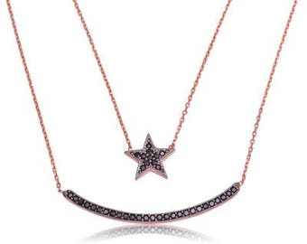 Sterling Silver Moon And Star Double Chain Necklace