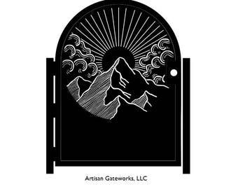 Decorative Sunrise Steel Gate - Metal Art - Sunrise Mountain - Scenic Steel Art - Scenic Gate - Mountain Gate - Walkway Gate - Nature Gate