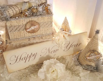 Vintage Happy New Year Hanging Sign Ivory New Year Painted Wood Sign Antique New Year Sign Romantic Vintage New Year