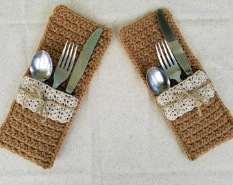 Crochet Faux Burlap and Lace Silverware Pockets PATTERN ONLY wedding gift bridal table dining place setting country rustic holder easy