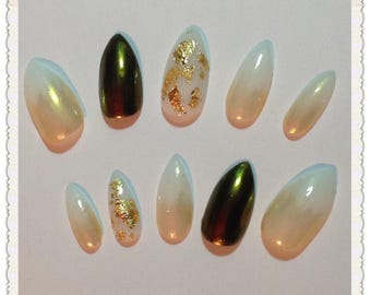 Gold white ombre press on nail Holo gold foil false nails simple nail