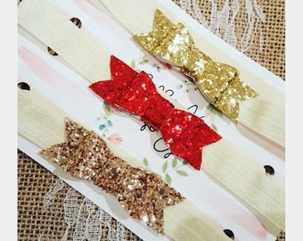 3 pack of bows, Christmas headbands, Glitter bow clips, glitter bow headbands, glitter baby headbands,