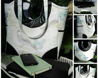 Large Tote Bag Birds and Butterflies Free Shipping in US