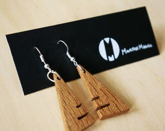 Triangle Slot Wooden Earring Design Handmade Oak