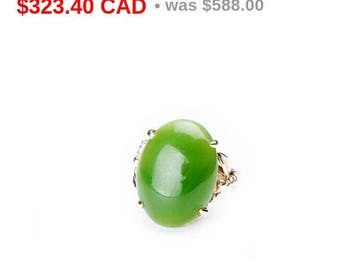 45% SALE! Vintage Jade Gold Ring