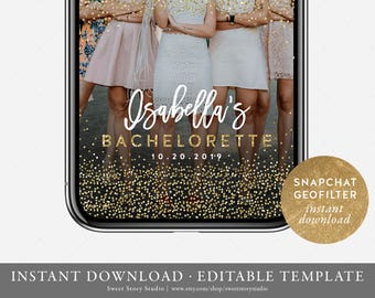 Instant Download | Glitter Bachelorette Party Snapchat Geo Filter  | Editable Geofilter | Gold Glitter, Bridal Shower | DC044