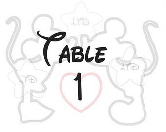 Mickey and Minnie Silhouette Wedding Table Numbers Set of 10 Numbers