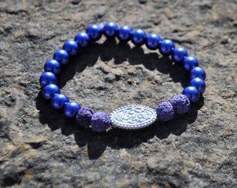 Purple/Blue Medallion Essential Oil Diffuser Bracelet