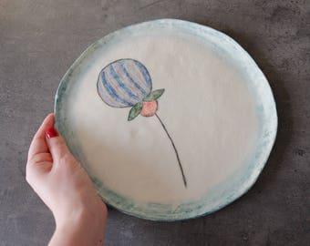 Pottery plate Ceramic plates Decorated plate Pottery plate Serving dish Minimalist ceramic plate Dinner plate Handmade ceramic serving plate