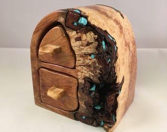 Birdseye Maple Burl Bandsaw Box with turquoise inlay