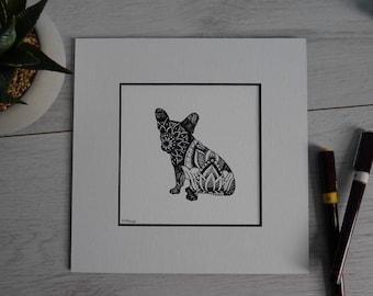 French Bulldog/Frenchie/French Bulldog Print/Pen&Ink/French Bulldog Design/Dog Design/Mandala Dog Design/French Bulldog Drawing/Bartok