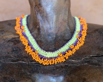 Beaded Necklace with hand knitted pouch