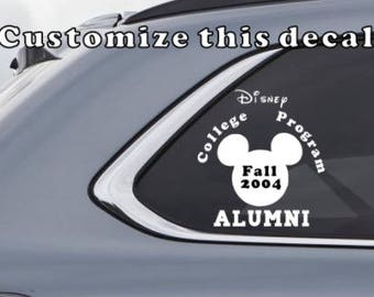 College Program Alumni Disney Inspired Decal - Inspired by the WDWCP program - Custom Vinyl Decal
