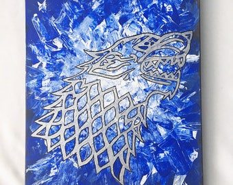 House Stark sigil from Game of Thrones over a background of ice